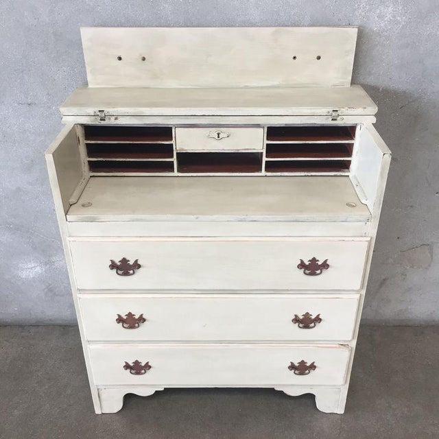 Early American Early American Antique White Secretary Dresser For Sale - Image 3 of 11
