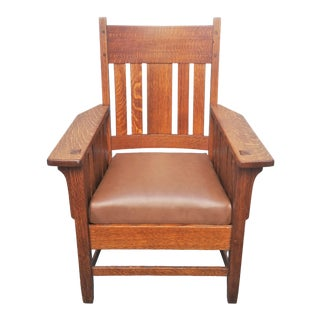 American Antique Mission Oak Armchair For Sale