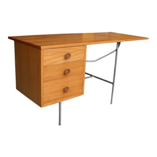 Mid-Century Modern Bleached Mahogany Three-Drawer Flip Desk by George Nelson For Sale