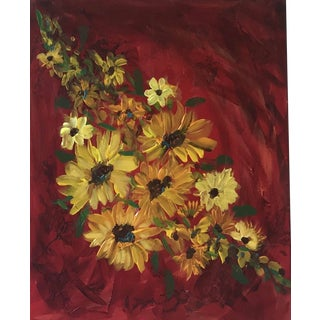 Sunflowers on Red Contemporary Painting For Sale