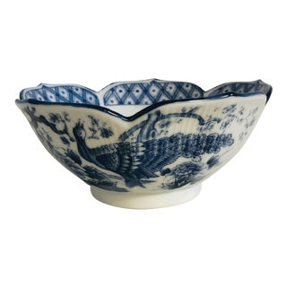 Chinoiserie Blue and White Peacock Motif Scalloped Edge Bowl For Sale