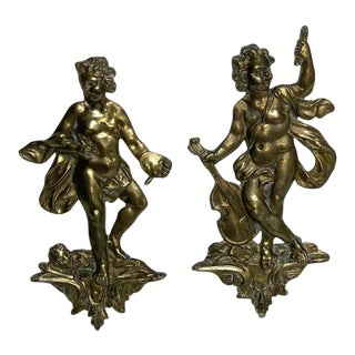 19th Century Antique French Bronze Appliqués Depicting Art and Music - a Pair For Sale
