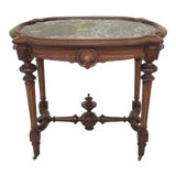Image of 19th Century Victorian Marble Top Walnut Parlor Table For Sale