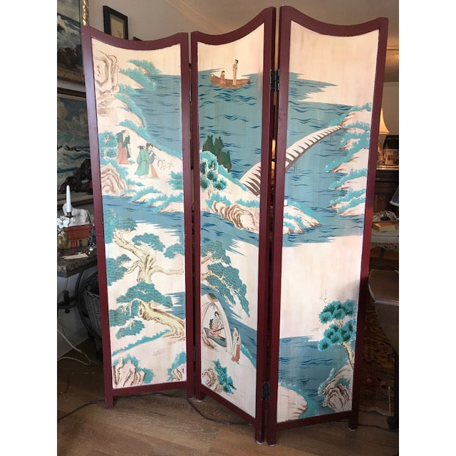 1960s Asian 3-Panel Screen For Sale - Image 10 of 11