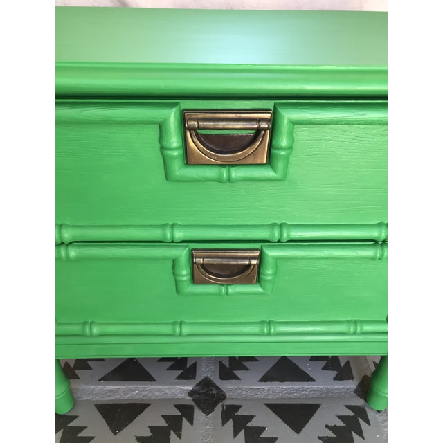 1960s Vintage Mid Century Modern Green Painted Faux Bamboo Nightstand For Sale - Image 4 of 9