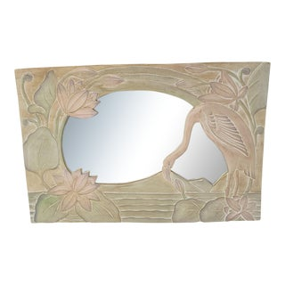 Vintage Flamingo Hand Carved Hand Painted Wood Mirror For Sale