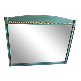 Mid-Century Blue Framed Mirror