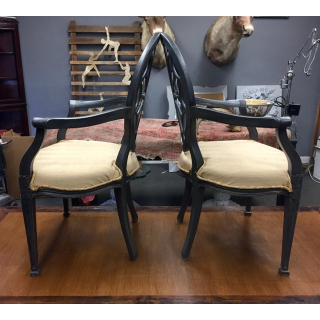 Traditional Ebonised Wheel Back Chairs - a Pair For Sale - Image 3 of 5