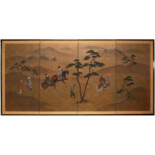 Early 20th Century Antique Large Meiji Era Takagari of Prince Genji Japanese Byobu Screen For Sale