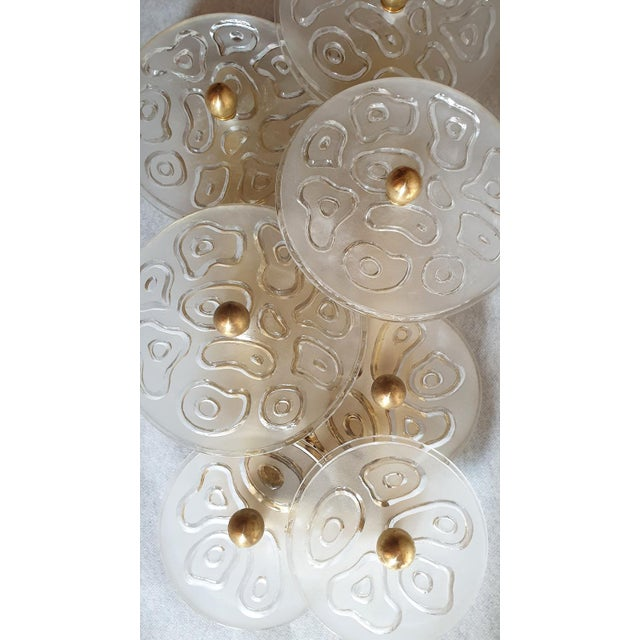 Mid Century Modern Murano Glass & Brass Sconces by Vistosi Italy 1960s - 2 Pairs For Sale - Image 6 of 9