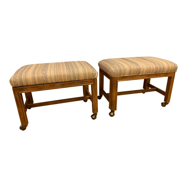 1980s Vintage Drexel Heritage Walnut Rolling Ottomans/Stools- A Pair For Sale