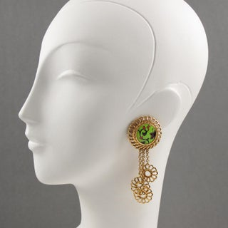 Kenzo Paris Drop Dangling Floral Gilt Metal With Ceramic Clip on Earrings Preview