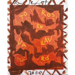 'Brown Toros' Framed Picasso Poster Painting by Sean Kratzert For Sale