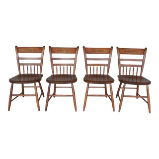 L. Hitchcock Thumb Back Sheraton Style Harvest Stenciled Side Chairs - Set of 4