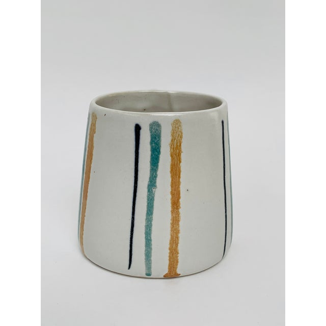 1960s Mid Century Modern Striped Oval Stoneware Mug From Bennington Potters For Sale In New York - Image 6 of 13