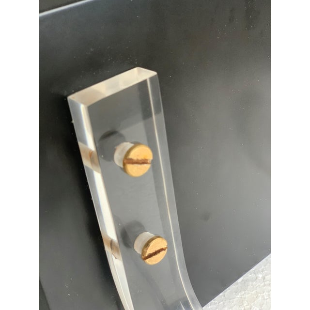 Mid-Century Modern Ebonized Coat Rack With Three Lucite Hangers, 1950, Italy For Sale - Image 9 of 11