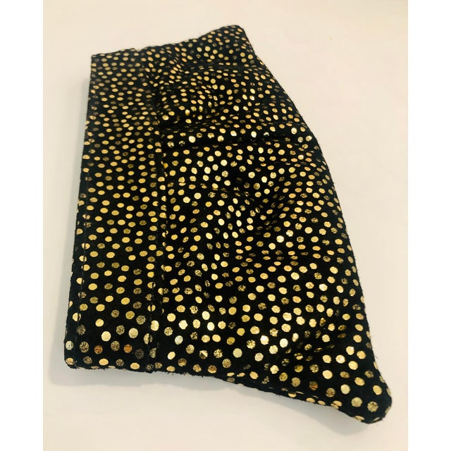2010s Lauren Merkin 1980s Style Black Suede Clutch With Metallic Gold Polka Dots For Sale - Image 5 of 8