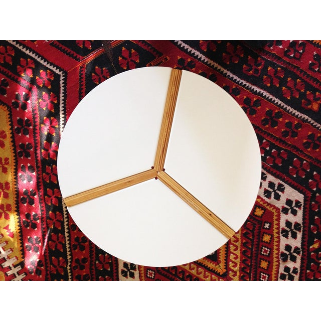 CB2 White Enamel & Bamboo Side Table - Image 4 of 11