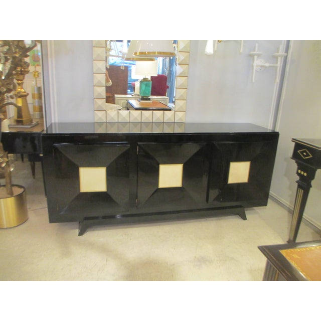 Mid-Century Modern French Ebonized Sideboard with Parchment Doors For Sale - Image 3 of 13