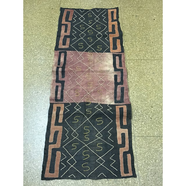 """African Tribal Art Handwoven Kuba Cloth Panel from Congo - 22"""" x 58"""" - Image 2 of 6"""