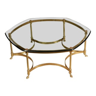 20th Century Hollywood Regency LaBarge Polished Brass and Glass Octagonal Coffee Table For Sale