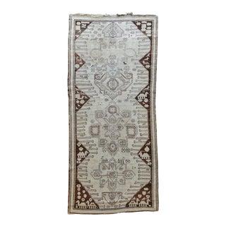 Antique Neutral Tribal Wide Runner Karabagh Rug For Sale