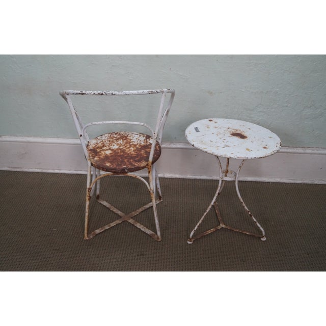 Antique French Iron Garden Table Set - Image 4 of 10