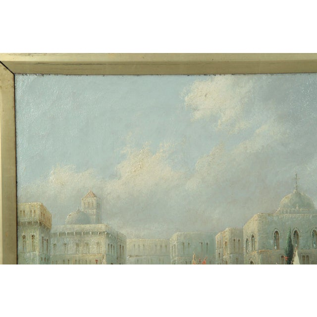 Italian British Grand Canal Venice Antique Oil Paintings by James Salt - a Pair For Sale - Image 3 of 11