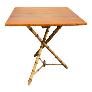 Antique Faux Bamboo Side Table. For Sale