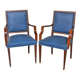 1940s French Mahogany and Leather Armchairs - a Pair For Sale