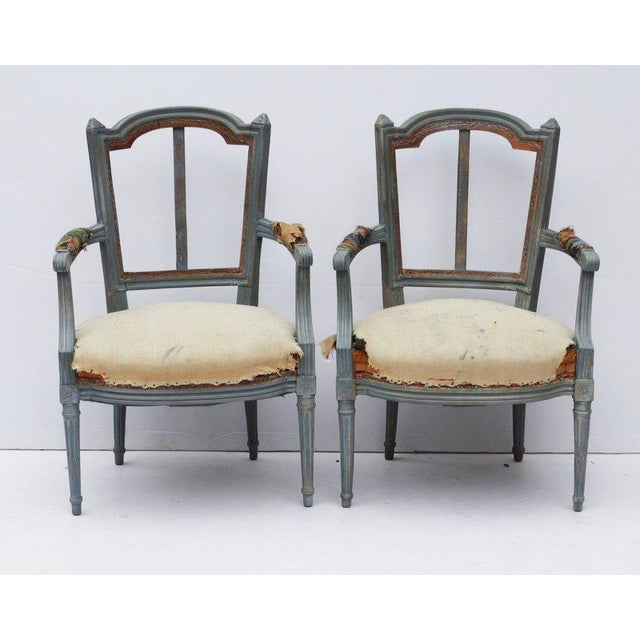 Pair of French Louis XVI Style Fauteuil Armchairs, Early 20th C For Sale - Image 4 of 4