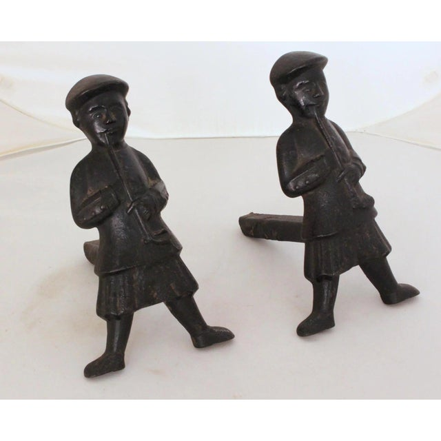 Antique Scottish Smoker Andirons - a Pair For Sale - Image 4 of 7