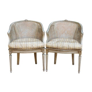 Louis XVI Style Caned Barrel Chairs, a Pair