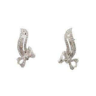 1950s Kramer Rhodium Plated Rhinestone Bow Earrings For Sale