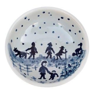 Vintage Japanese Porcelain Bowl Catchall For Sale