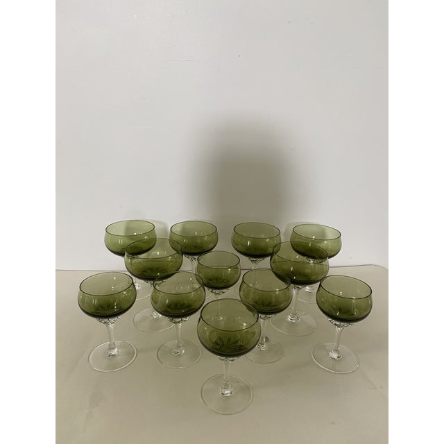 Glass Green Twisted Stem Coups and After-Dinner Crystal Glasses - Set of 12 For Sale - Image 7 of 7