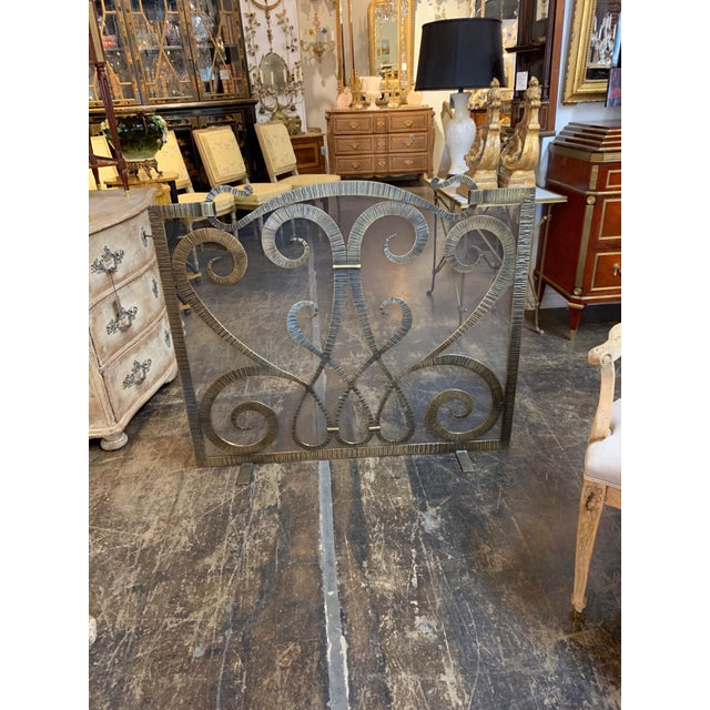 Custom Steel Fire Place Screen in Gilded Black Finish For Sale - Image 4 of 6