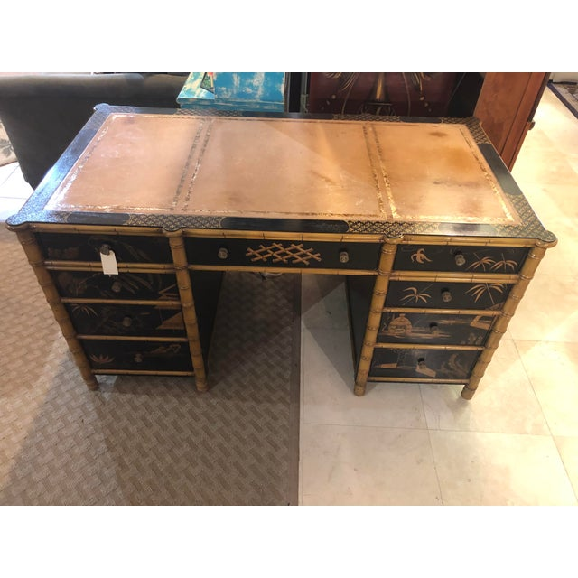 Remarkable partner desk, rich in detail, features classic Chinese imagery on all four sides allowing versatile placement...