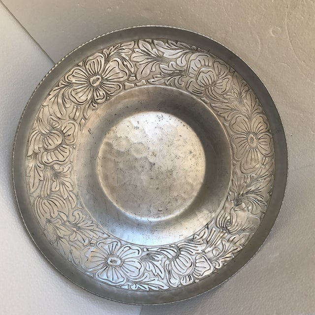 Vintage Handmade Etched Metal Tray For Sale In Los Angeles - Image 6 of 11