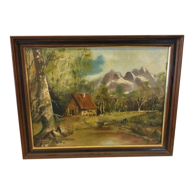 1972 Hudson Valley Mountain Cabin Oil Painting For Sale