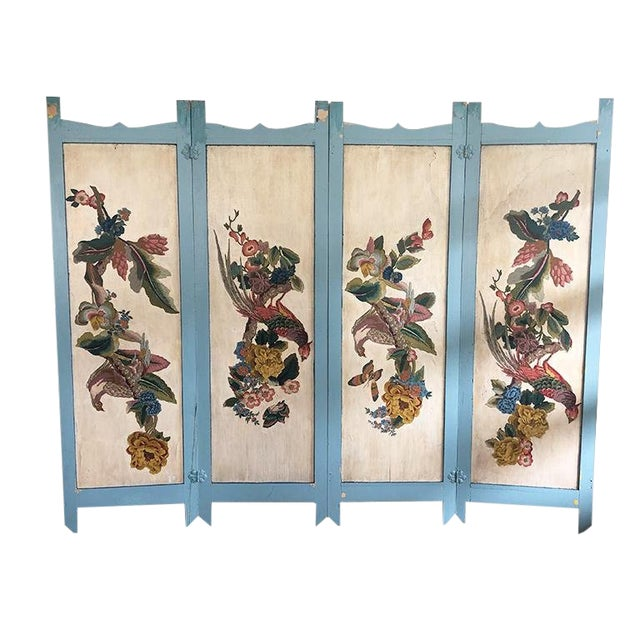 Vintage 4 Panel Chinoiserie Bird and Flower Motif Blue Divider Screen For Sale