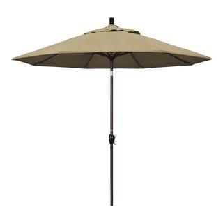 Casa Cosima 9' Riviera Patio Umbrella With Bronze Aluminum Pole in Sunbrella Heather Beige Fabric For Sale