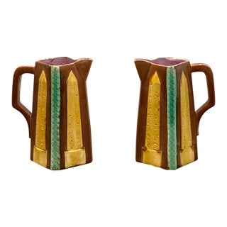English Majolica Pitchers - a Pair For Sale