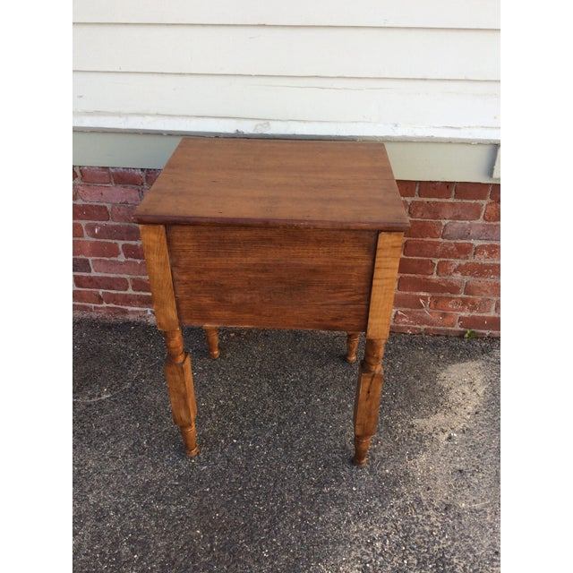 Antique Tiger Maple and Cherry 2 Drawer Stand For Sale - Image 4 of 9