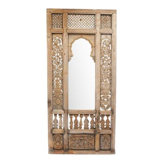 Antique Architectural Indian Window Facade Mirror For Sale