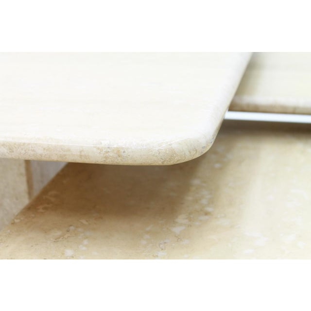 Tan Set of Three Italian Travertine Side Tables 1970s For Sale - Image 8 of 13