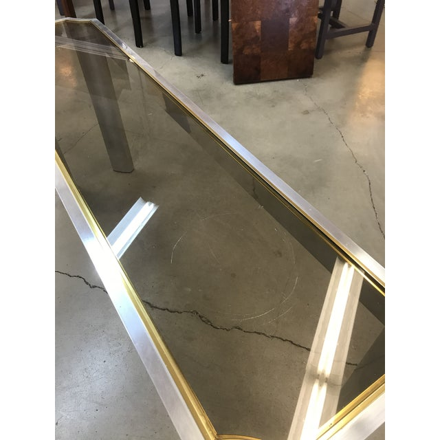 Modern 1970s Chrome Brass and Smoked Glass Baughman Style Console Table For Sale - Image 3 of 7