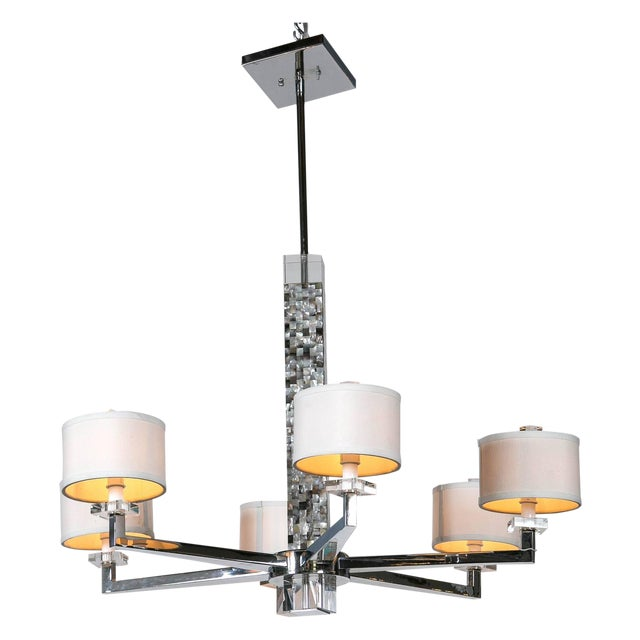 Mother of Pearl Micro Mosaic Decorated Chandelier For Sale