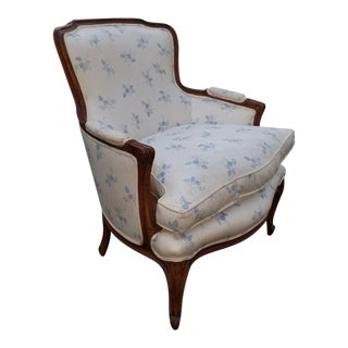 Vintage French Country White W Blue Flowers Accent Chair and Down Cushion For Sale
