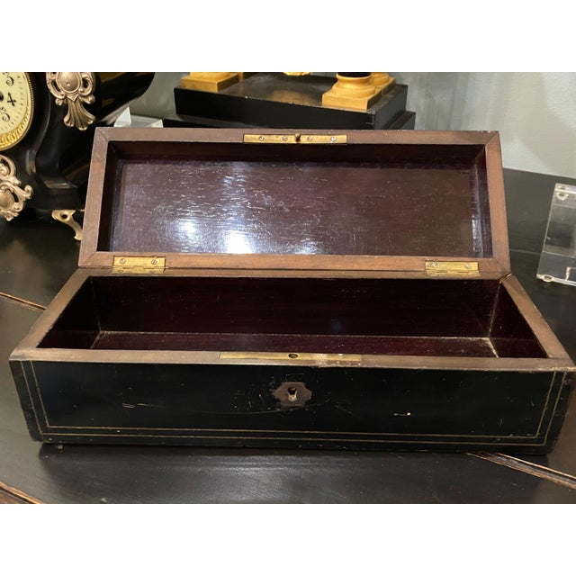 French Napoleon III Ebonized Box With Mother of Pearl Inlay For Sale - Image 3 of 7